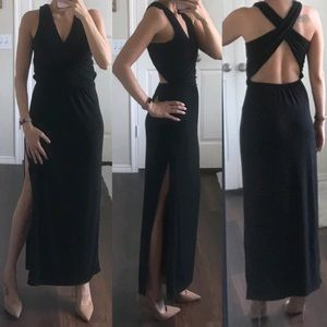 Black stretch open back criss cross maxi dress